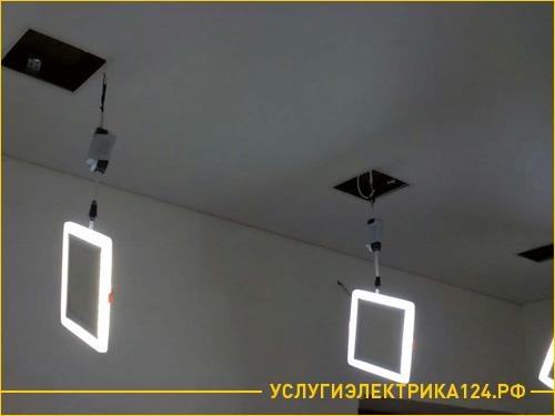 Установка светильников на потолке