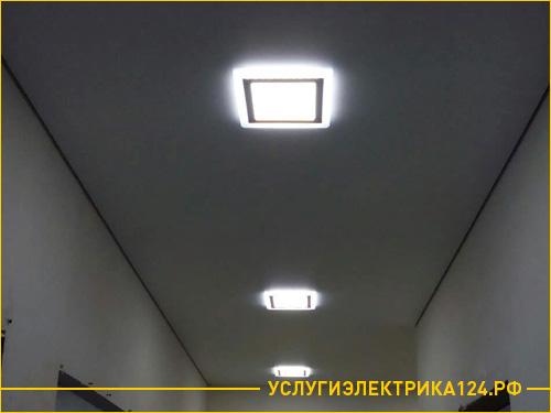 Результат работы по установке светильников на потолке