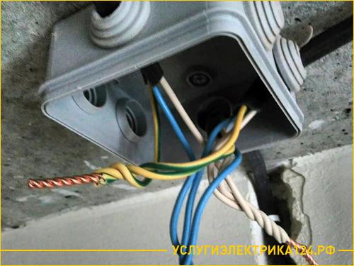 Установка распределительной электро коробки для скручивания проводов